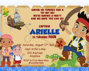 Jake and the Neverlands Birthday Invitation, Pirates Invites. Jake Invites. Izzy Invites. Digital (you print) With or Without Photo