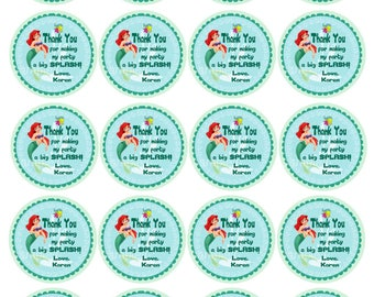 Little Mermaid Favor Tags / Thank  You Tags / Bag Tags / Sticker. Princess Ariel.  Digital (you print)
