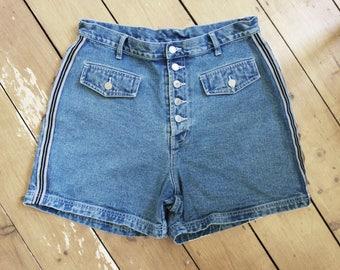 Vintage denim shorts, high waist, blue, size UK 16-18