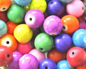 Set of 10 round beads - assorted colors