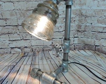 Pipe Lamp, Industrial lamp, Steampunk Lamp ,Vintage Insulator, Lamp, Glass Insulator Lamp, galvanized pipe,iron pipe lamp