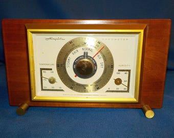 Vintage AIRGUIDE Desktop Weather, Wooden Case, Weather Station, Barometer Thermometer and Hygrometer