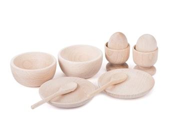 Wooden Breakfast Tea Set - Montessori - Wood Toys - Treasure Basket