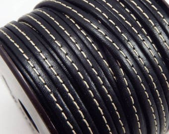 leather cord flat couture black 5mm by 20 cm