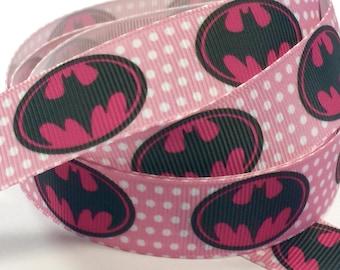 7/8 inch 7/8 inch Bat Girl BatGirl on Pink on Pink  - SUPER HERO - Super heroes -  - Printed Grosgrain Ribbon