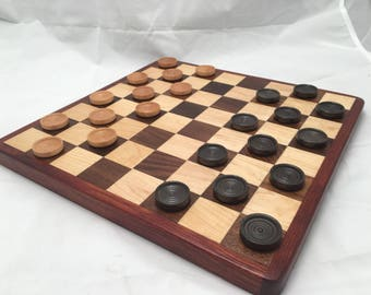 Handcrafted Wooden Chess & Checkers Set