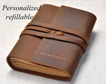 Personalized leather journal refillable leather journal  (Free stamp)