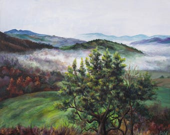 Landscape, scenery, hills, mountains, trees, views, fog, cloudy