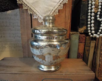 Vintage Mercury Glass / Apothecary Jar With Lid / Etched Mercury Glass Jar