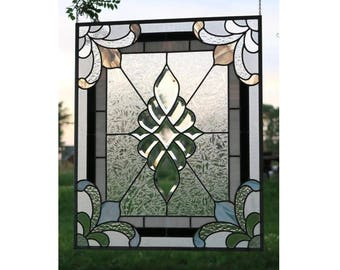 LARGE  Silver Wedding Anniversary Beveled Traditional Leaded Stained Glass Window - Northwind Glass