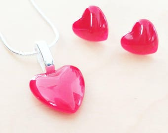 Set gift Valentine Red Heart earring and necklace hand painted by heart of exception