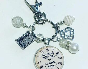 Book keyring, Bookworm keyring, So many books so little time, book lover keyring, book lover keychain, handmade gift