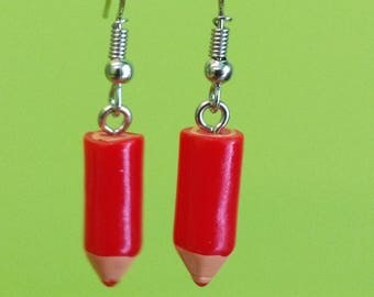 Earrings with red pencils