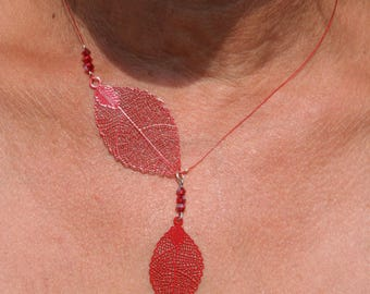 Necklace with red leaf