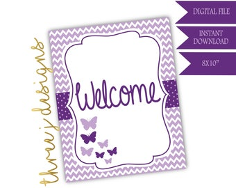 Butterfly Baby Shower Welcome Sign - INSTANT DOWNLOAD - Plum and Lavender - Digital File - J004