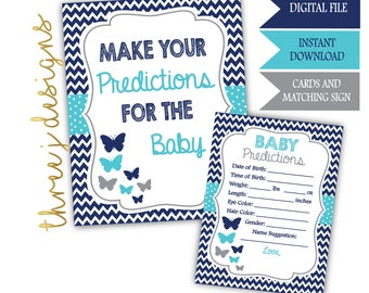 Butterfly Baby Shower Predictions for Baby Cards and Sign - INSTANT DOWNLOAD - Navy Blue, Teal and Gray - Digital File - J007