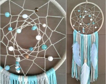 Blue Dream catcher, Beach Dreamcatcher, Crystals Dreamcatcher, Blue and Brown Dreamcatcher,  Boho Dream catcher, Beach Decor, Nursery.