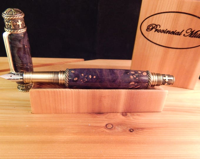 Faith Hope Love Fountain Pen Crafted From Dyed Maple Burl #FP10250