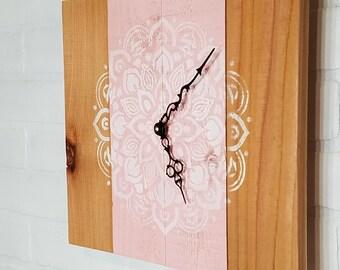 Medium Wood Wall Clock - Pink & Lace