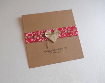 Wedding, birth, baptism - greeting card, 15 x 15 cm heart origami + headband made of Japanese paper