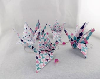Vertical Garland 6 graphic patterned cranes origami - rose gold turquoise - baby girl's room wall decor