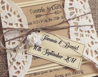 Rustic Wedding invitations set of 40
