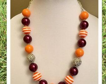 Virginia Tech Fans Chunky Bead Necklace