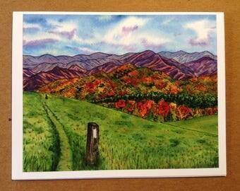 Appalachian Trail Greeting Card - Max Patch, North Carolina - Blank Fine Art Note Card