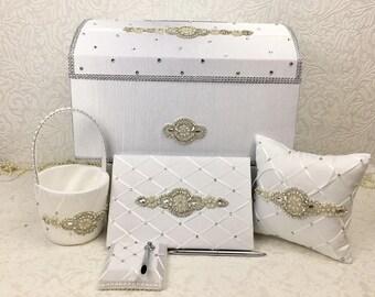 Wedding accessory set, wedding Card Box, Money holder, envelope holder, silverbox, rhinestone trim, treasure chest