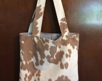 Free Shipping**Tan/off white Faux cowhide open tote bag fully lined bag
