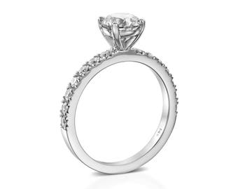 1 1/3 CT Solitaire Diamond Engagement Ring Round Cut F/SI1 14K White Gold