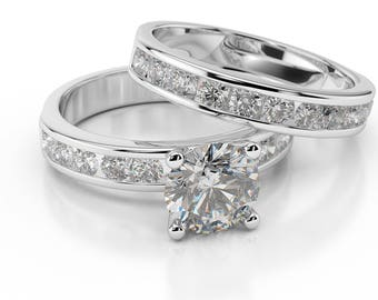 3.20 CT F/SI1 Real Round Cut Diamond Engagement Ring Set 14K White Gold