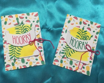 Summer Birthday Cards, Aloha, Luau, you choose color, Pink or Green, Blank Card