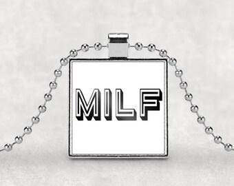 MILF necklace, mom gift, MILF, new mom, hot mom, mom pendant, silver pendant, gift for mom, square pendant, new mom gift, mom birthday