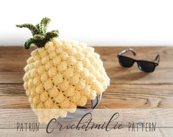 CROCHET PATTERN #023--Pineapple hat (baby and kid sizes)