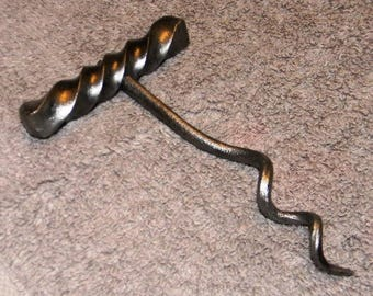 Blacksmith hand forged corkscrew with twisted handle