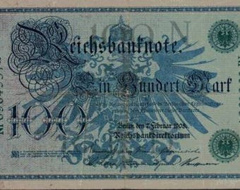 1908 German Empire Kaiser Huge 100 Mark Banknote  GREEN SEAL
