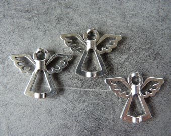 2 charms / beads silver metal Angels