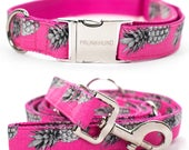 Dog collar PINEAPPLE PINK with silver colored hardware - handmade