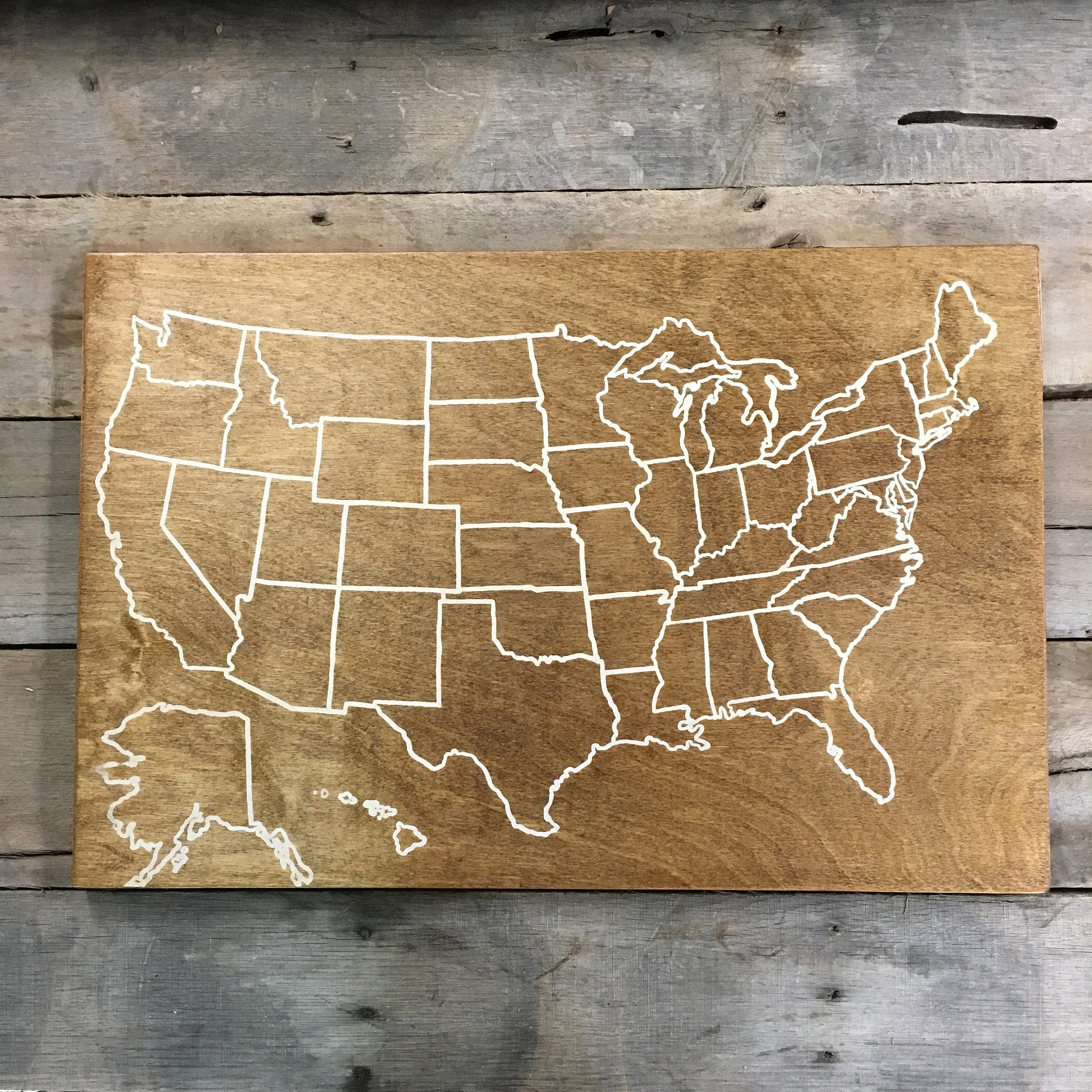 Travel Map Wood Map USA Wood Map USA Travel Map Pin - Personalized us travel map
