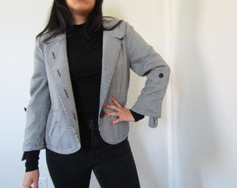 90s does 60s Mod Plaid/Houndstooth Collarless Blazer/Coat