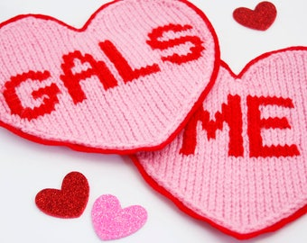 Galentines/Valentines Knitted Heart Patch/Penant