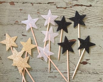 Black, Gold, and White Glitter Stars Cupcake Toothpicks.  Cupcake Decorations.  Star Shaped Toothpicks. Cupcake Toppers