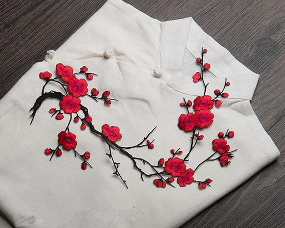 Cherry Blossom Embroidered Applique. Black Flowers Patch,collar Patch  Embroidered Applique