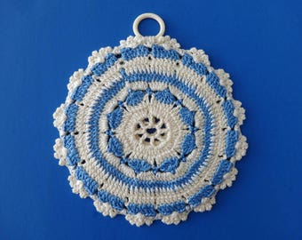 Vintage Blue and White Round Crocheted Two Sided Reversible Potholder Hot Pad