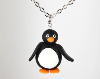 Penguin Necklace - Handmade from polymer clay