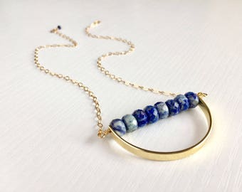 Lapis Crescent Necklace