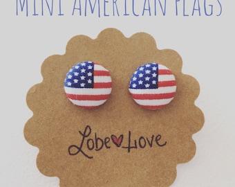 Mini American Flag Fabric Earrings