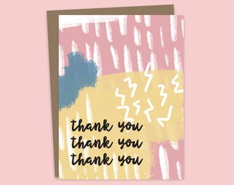 Thank You Card, Illustrated Card, Thanks a Bunch, Thank You Package, Thanks A Million, Thank You Stationery, Thanks Card