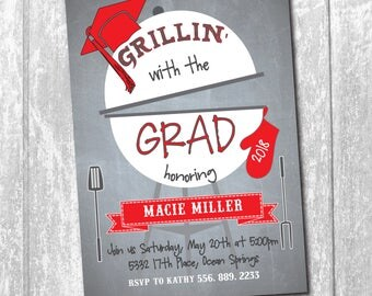 "Graduation Party Invitation printable...""Grillin' with the Grad"".../DIGITAL FILE/ cookout, burgers, girl, boy/Wording& colors can be changed"